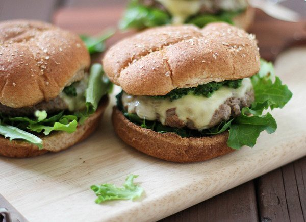 Lamb Burgers with Mint Kale Pesto