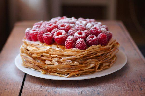 Raspberry Crepe Cake
