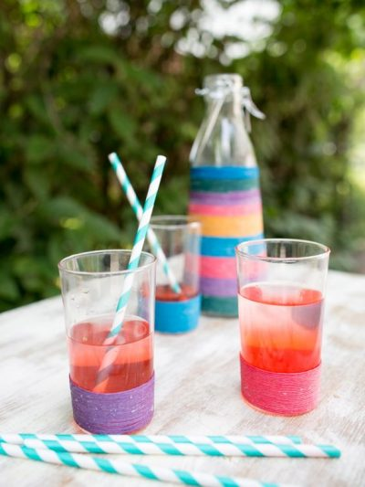 DIY Colorful Twine Wrapped Glasses thumbnail