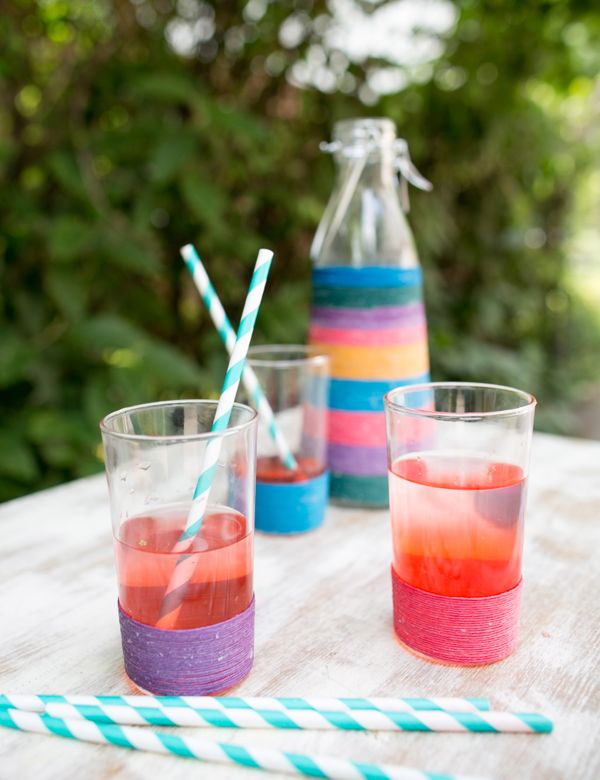 DIY Twine Wrapped Glasses