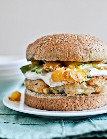 Shrimp Burger with Chipotle Cream and Coconut Peach Salsa