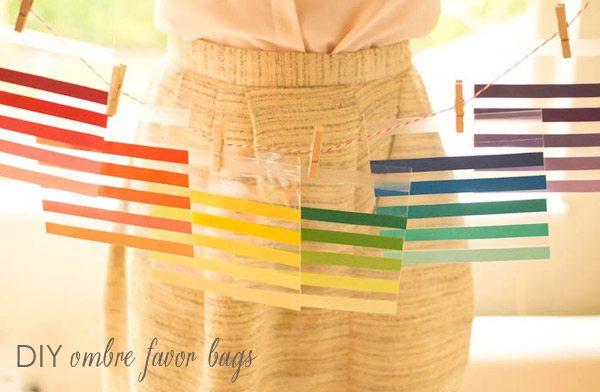 DIY Striped Ombre Favor Bags
