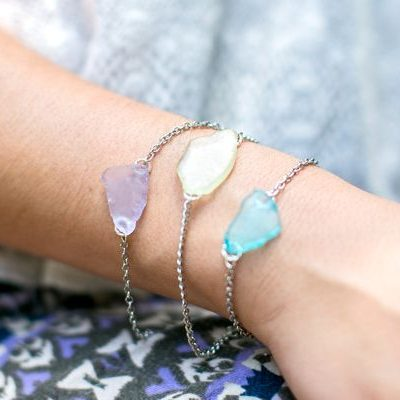 DIY Sea Glass Bracelet + Earrings thumbnail