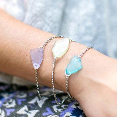 DIY Sea Glass Bracelet + Earrings thumbnail