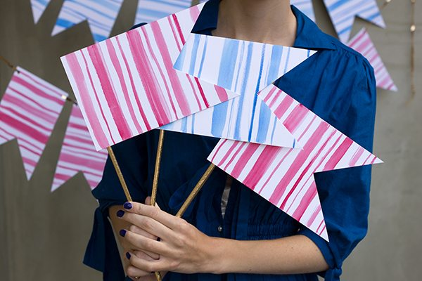 DIY Watercolor Stripe Bunting