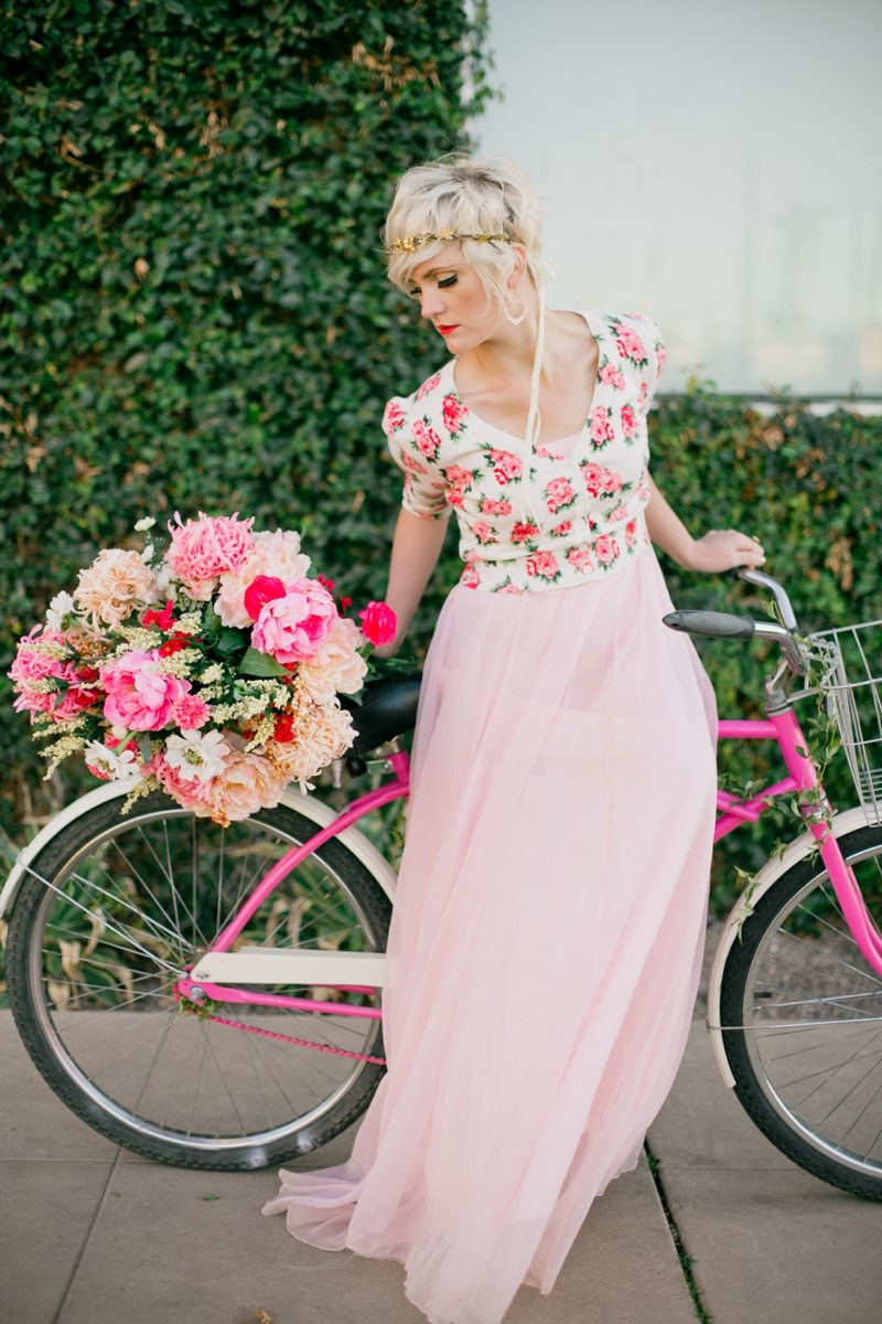 Hot Pink Bike + Peonies