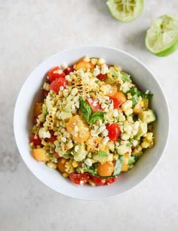 Grilled Corn and Tomato Salad with Blue Cheese