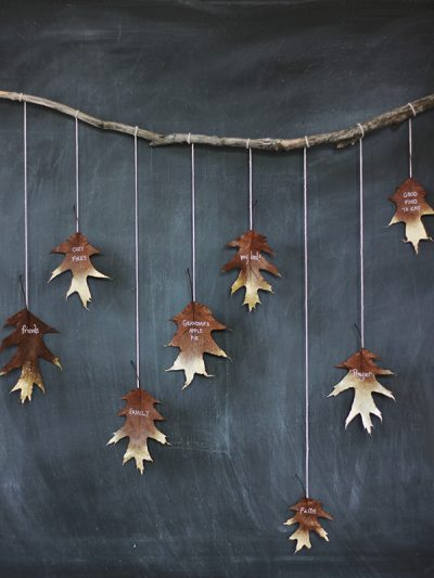 DIY Giving Thanks Golden Leaf Garland thumbnail