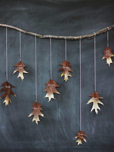 DIY Giving Thanks Golden Leaf Garland thumbnail