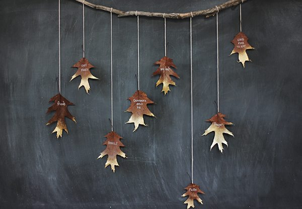 DIY Giving Thanks Golden Leaf Garland