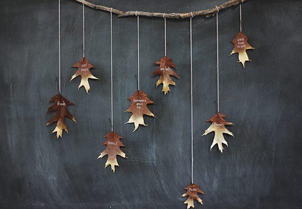 DIY Giving Thanks Golden Leaf Garland