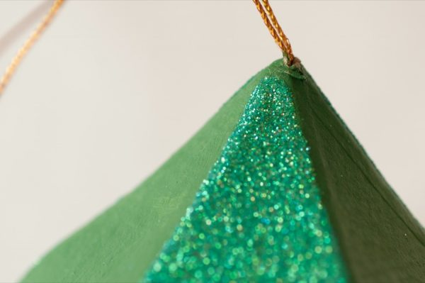 DIY Colorblock Glitter Ornaments