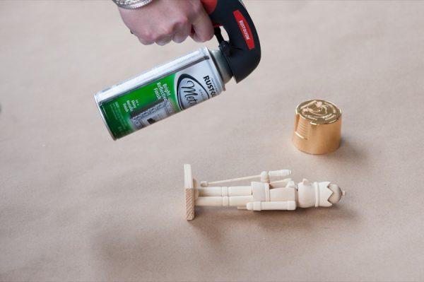 DIY Golden Nutcracker + Chestnut Holiday Mantel