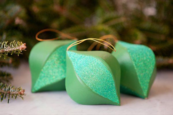 DIY Colorblock Glitter Ornaments
