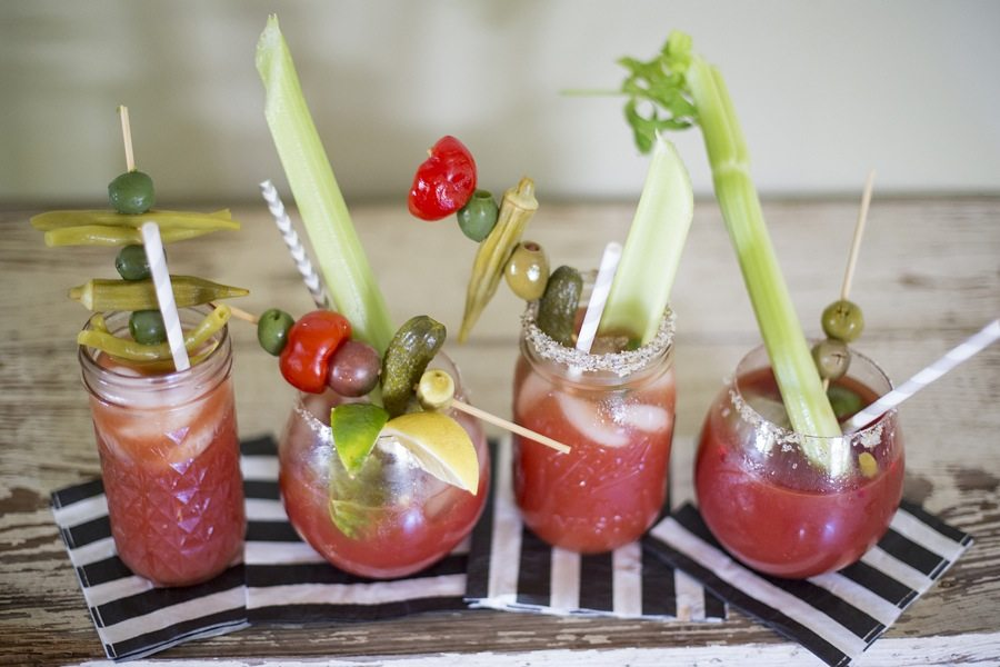 For the inexperienced, make a note card of your favorite combinations to encourage them to have fun and make it their own. Make sure you have all the right serving utensils for the vegetables. Skewering an olive with a toothpick is hard to do after your third bloody Mary.