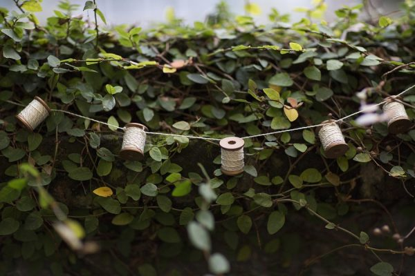 DIY Wooden Spool Garland