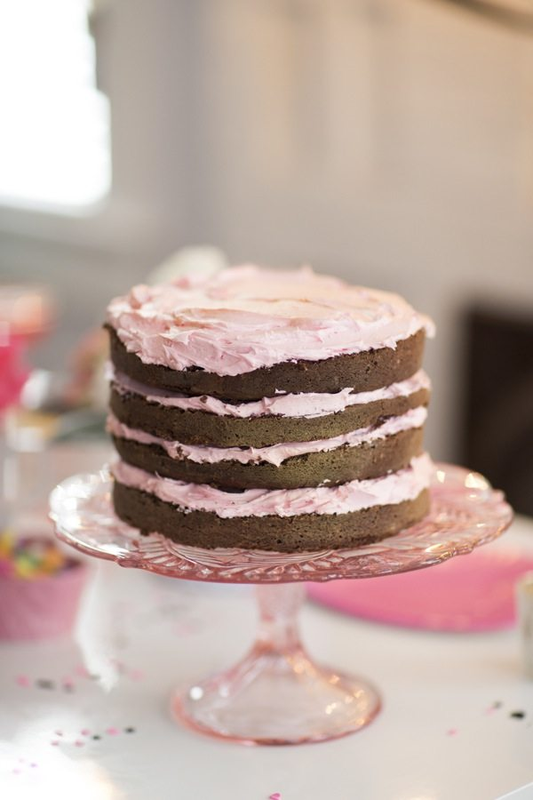 Chocolate Cake with Rose Buttercream