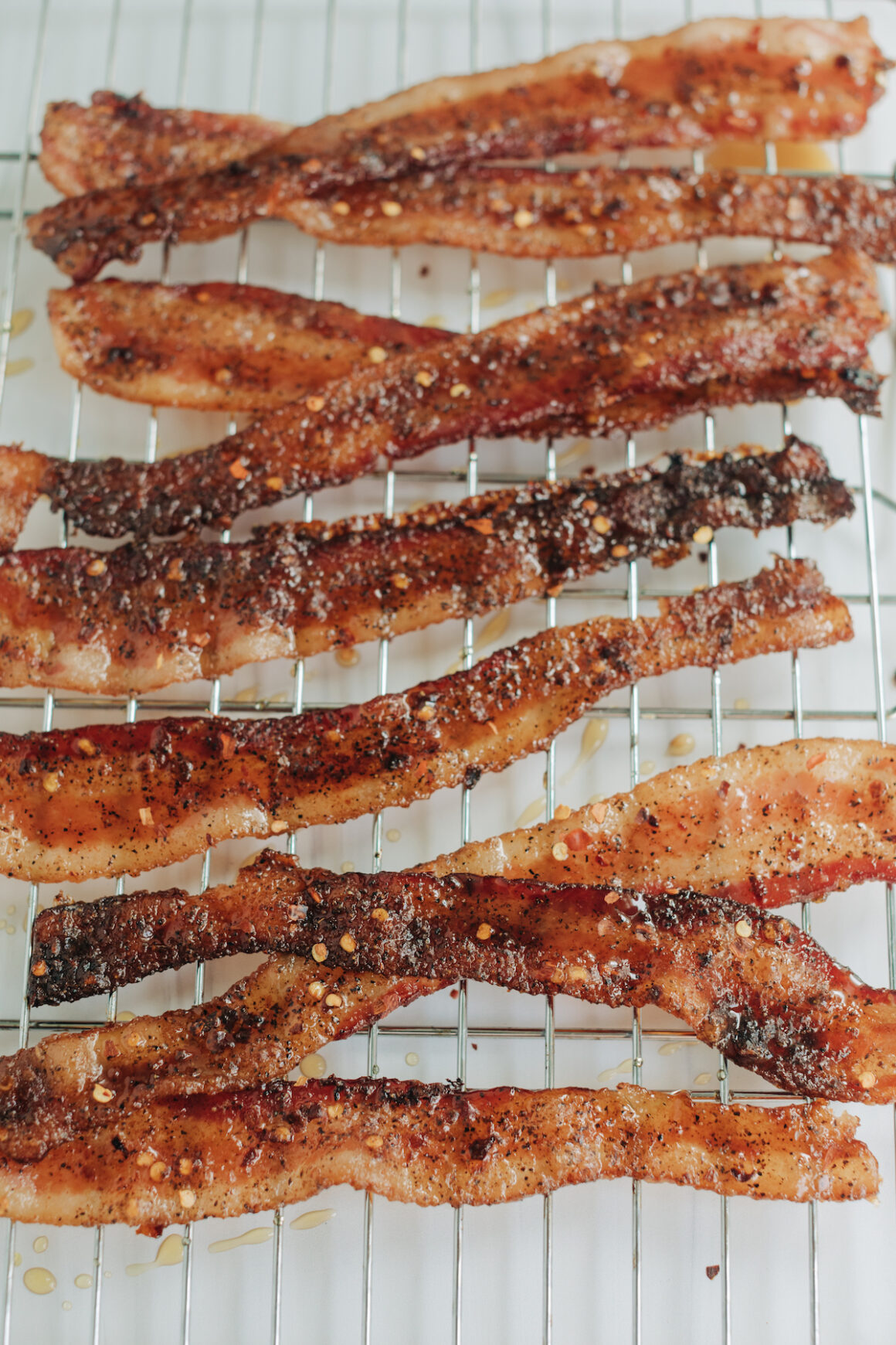 Million Dollar Bacon on a baking rack