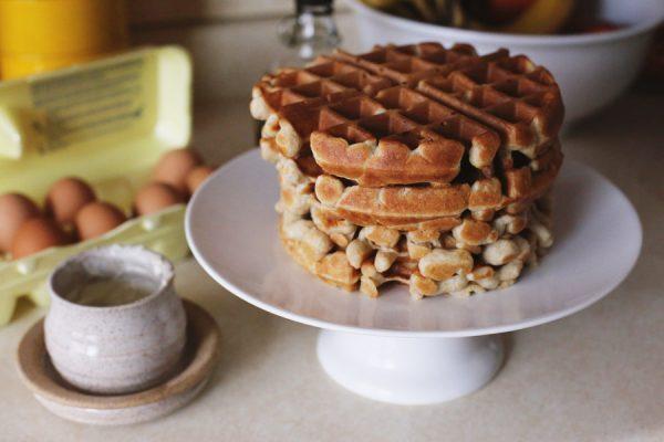 Sunday Brunch - Waffles Served on a Cake Stand