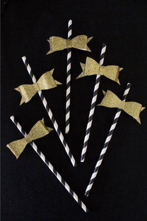 Gold Glitter Bow Straws