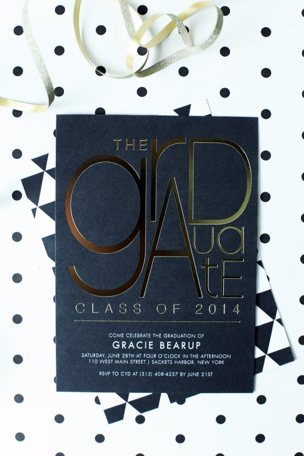 Gold Foil Graduation Party Invitations | The Sweetest Occasion