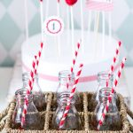 Milk Bottles with Red Paper Straws