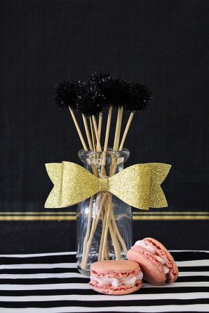 Black Pom Pom Drink Stirrers