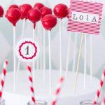 Red + White Birthday Cake Topper