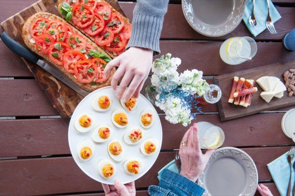 Tomato Pimenton Deviled Eggs | The Sweetest Occasion