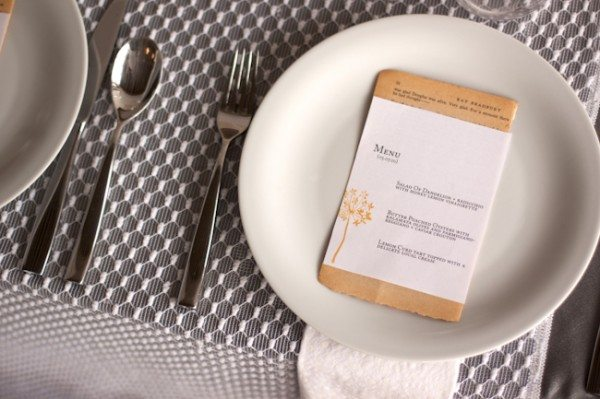 Modern Gray and White Place Setting