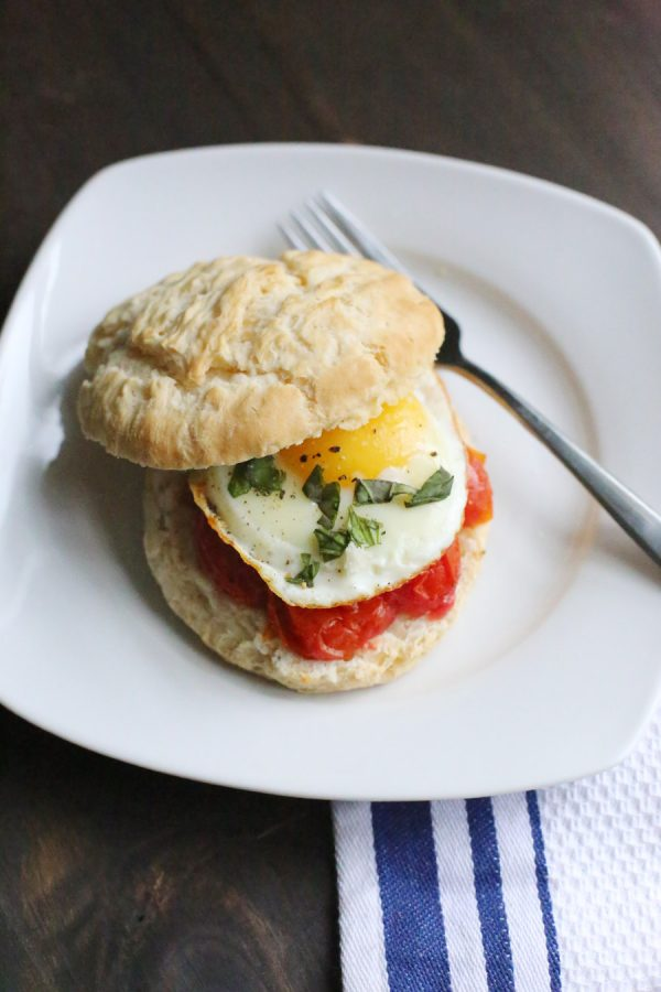 Egg and Grilled Tomato Biscuit Sandwich