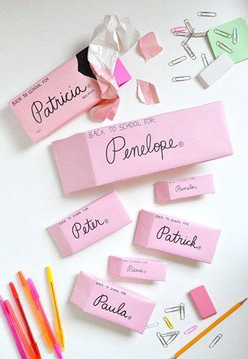 DIY Pink Eraser Wrapping Paper