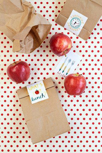 Printable School Lunch Bag Labels