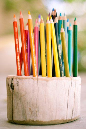 DIY Wood Log Pencil Holder from @cydconverse