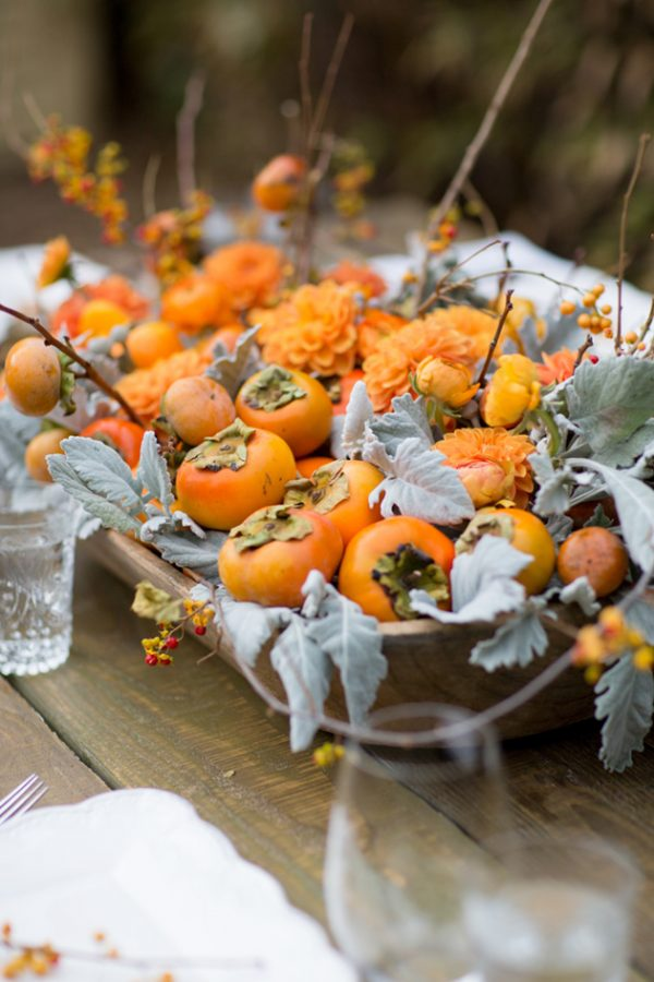 A Pretty Persimmon Fall Centerpiece