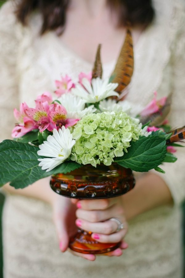 Elegant Fall Centerpiece with Feathers