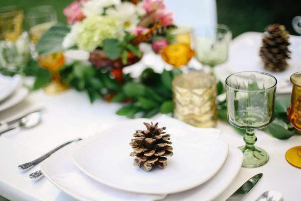 Pine Cone Place Setting at a Fall Dinner Party