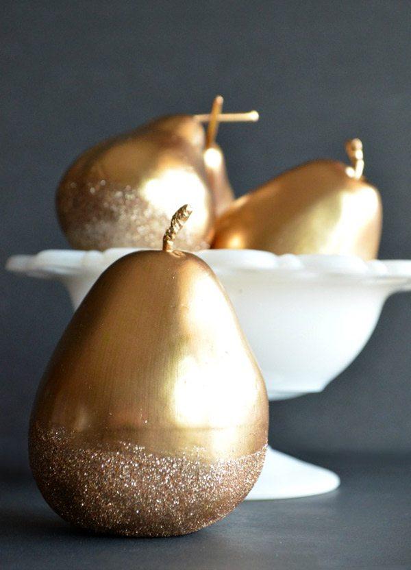 DIY Gilded Glitter Pears