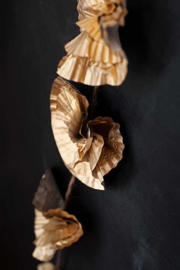 DIY Gold Cupcake Liner Flowers by @cydconverse