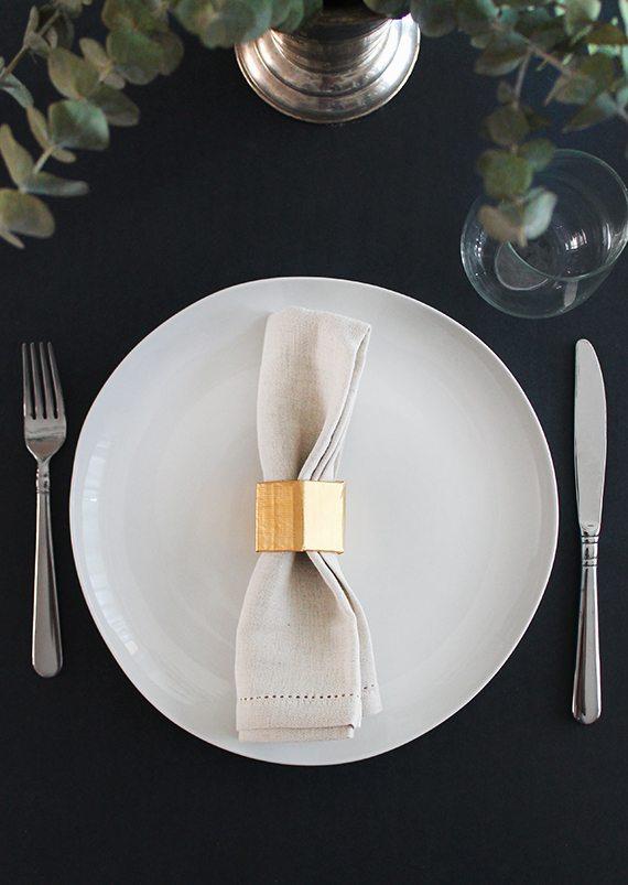 DIY Gold Geo Napkin Rings