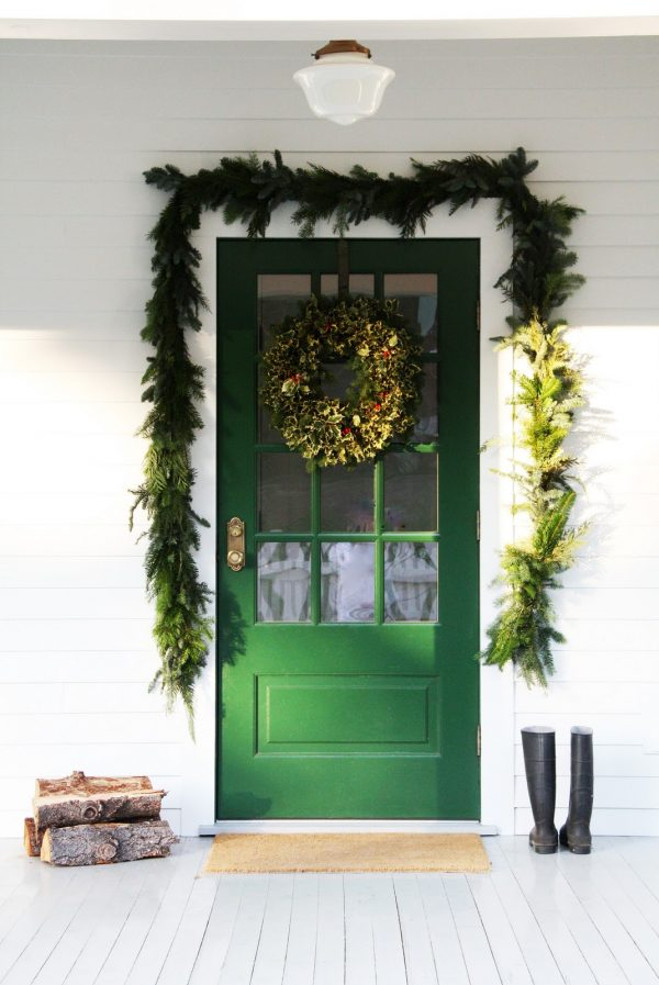 Green Door with Pine Garland and Wreath