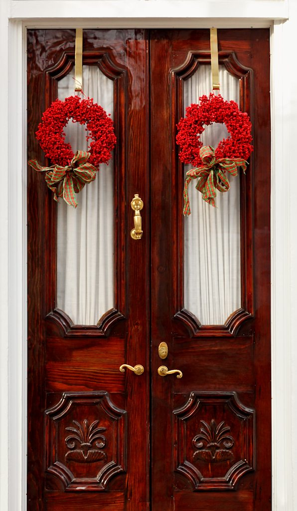 Pair of Red Wreaths on Double Doors