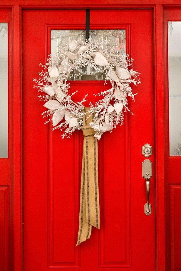Red Door with Silver Wreath