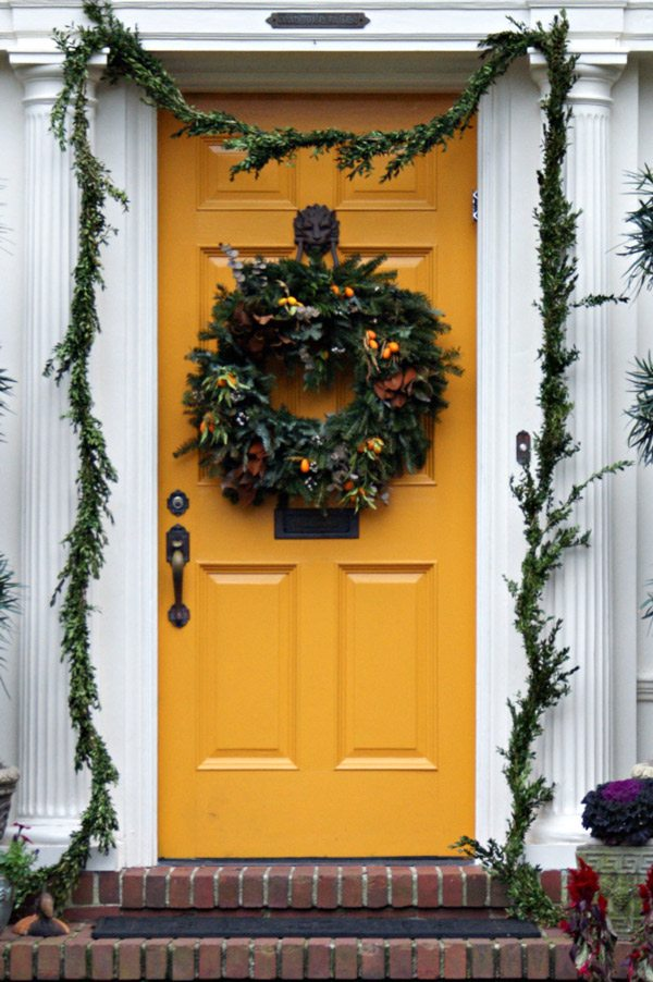 A Yellow Front Door with Wreath