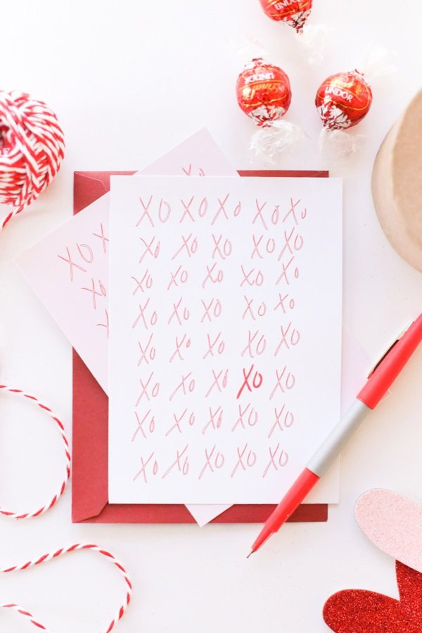 DIY Printable XO Valentine's Day Cards from @cydconverse
