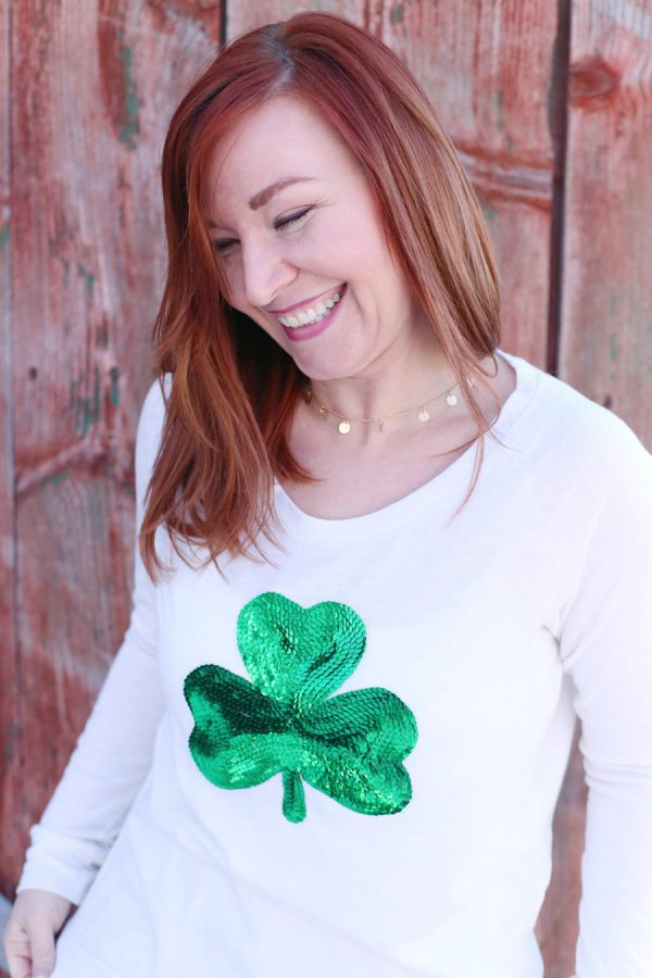 DIY Sequin Shamrock Shirt from @cydconverse