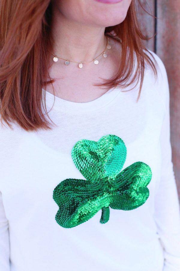 DIY Sequin Shamrock Shirt from @cydconverse
