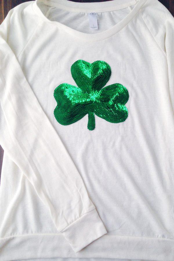DIY Sequin Shamrock Shirt by @cydconverse