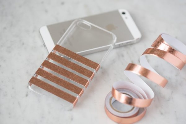 Diy Foil Striped Iphone Case The Sweetest Occasion