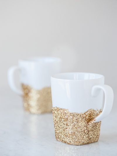 DIY Gold Glitter Dipped Mugs thumbnail